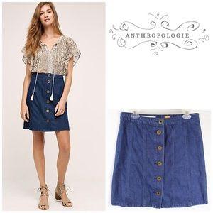 Pilcro Anthropologie Denim Skirt Button Front 10